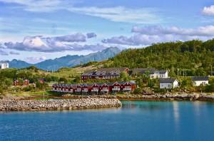 Typische Holzhäuser in Norwegen
